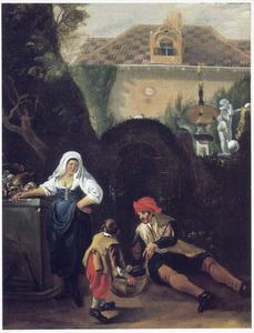 Man, vrouw en kind bij een poort in een heg bij een landhuis