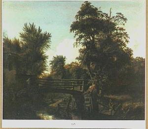 Landschap met houten brug bij een boerderij
