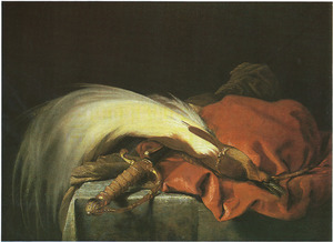 Stilleven met sabel en rood fluwelen muts gedecoreerd met een paradijsvogel