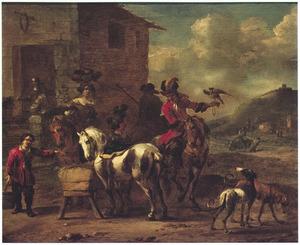 Rustende jagers bij een herberg tijdens de valkenjacht