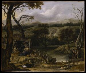 Heuvellandschap met musicerende herders
