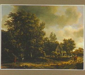 Boslandschap met een boerderij bij een wegsplitsing