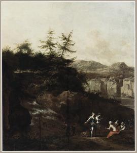 Zuidelijk landschap met figuren bij een waterval
