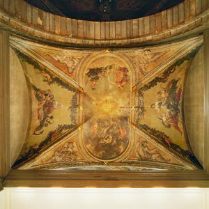 Uit vijf delen bestaande allegorische voorstelling rond het Oog der Gerechtigheid