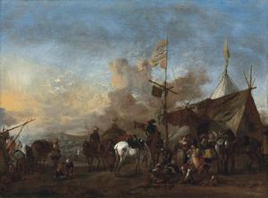Soldaten en paarden bij een marketentsters tent