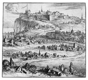 Landschap met dorpjes en gefortificeerde stad op rots