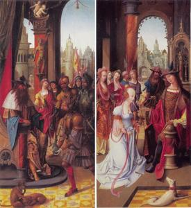 De drie helden met water voor Koning David (links) (2 Samuel 23:15-17); het bezoek van de Koningin van Seba aan Koning Salomo (rechts) (1 Koningen 10:1-13)