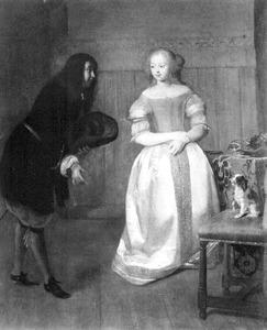 Interieur met een man die een jonge vrouw groet