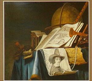 Vanitasstilleven met op een papier het portret van de schilder door Leendert van der Cooghen