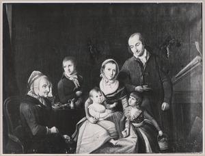 Portret van Johann Jurgen Strauss (1755-1821) met zijn gezin en zijn moeder
