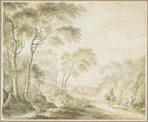 Boomrijk heuvellandschap met pakpaard en herder