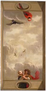 Wolkenlucht omgeven door balustrade waarachter twee kindertjes en een papegaai