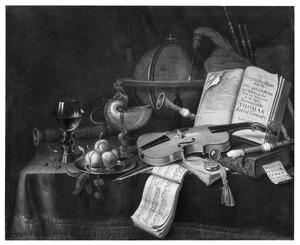 Stilleven met een roemer, vruchten op een tinnen bord, een nautilusbeker, muziekinstrumenten, boeken, een globe en andere voorwerpen geschikt op een met een kleed bedekte tafel
