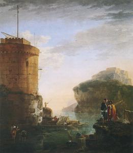 Zuidelijk kustlandschap met toren
