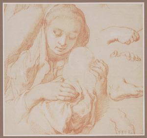 Studie van moeder met kind en handen en voeten