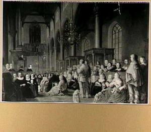 Een protestantse preek in een stadskerk met een groepsportret