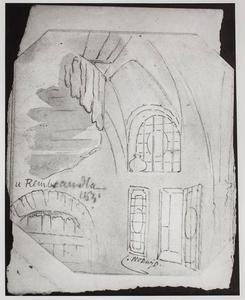 Studie van elementen uit het schilderij 'Oude man in een interieur met wenteltrap', mogelijk van Rembrandt