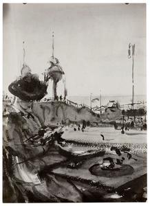 Lezende dame op het terras bij de Scheveningse plas