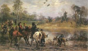 Valkenjacht bij een meer