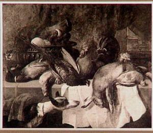 Jachtstilleven op tafel, links een hond