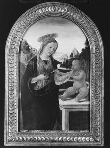 Maria met kind voor een berglandschap