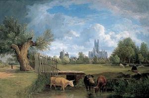 Gezicht op Canterbury, Kent, gezien vanaf Stour Meadows
