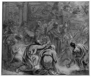 De apostels Petrus en Johannes wijzen knielende figuren naar een visioen van het monogram IHS