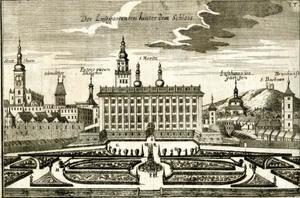 Gezicht op het Aartsbisschoppelijk Paleis te Kroměříž