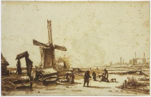 Winterlandschap met molens buiten Amsterdam