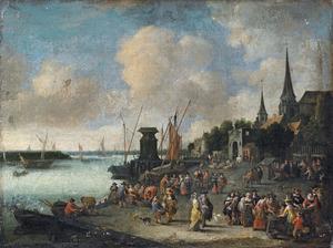 Fantasiegezicht op Antwerpen vanaf een visafslag