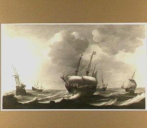 Zes schepen op open zee