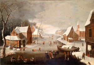 Winterlandschap met schaatsende en sleeënde figuren op het ijs in een dorp