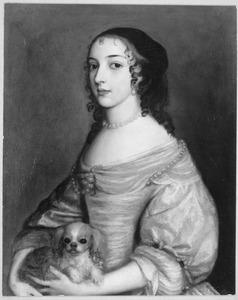 Portret van een vrouw, traditioneel genaamd Maria Stuart (1631-1661)