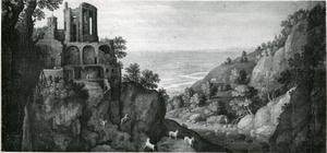 Landschap geïnspireerd op de watervallen bij Tivoli