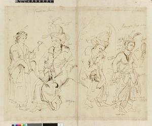 Studie van vier figuren in Perzische klederdracht