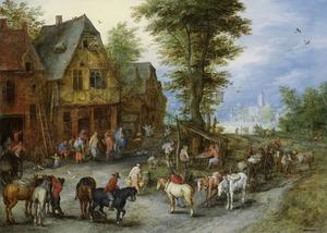 Gezicht op een dorpsstraat met boeren, paarden, koeien en Maria en Josef bij een herberg