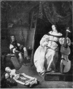 Interieur van een schildersatelier met een kunstenaar die een vrouw met een viola da gamba schildert