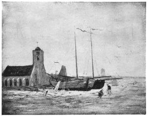 Gezicht op het strand en de Witte of Oude kerk van Katwijk in de ochtend