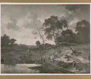 Landschap met reizigers op een weg langs een watertje