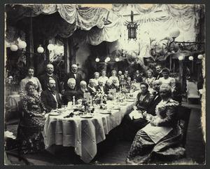 Diner in Hotel Pays-Bas te Utrecht ter gelegenheid van de zilveren bruiloft van Wouterus van Houten (1845-1919) en Cecilia Geertruyd (Ciele) Verhagen (1849-1934)