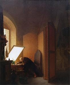 Rembrandt maakt een voorstelling op een etsplaat in zijn atelier