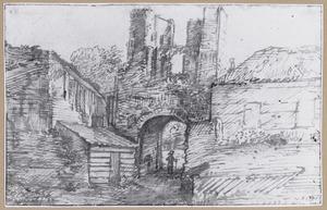 Ruïne van het poortgebouw van kasteel Brederode vanuit het zuidwesten