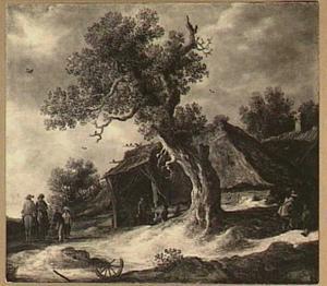 Landschap met reizigers voor een boerderij onder een haldode eik