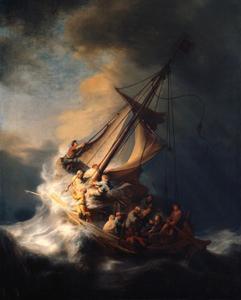 Christus in de storm op het Meer van Genesareth (Mattheus 8:23-25, Marcus 4:35-40, Lucas 8:22-25)