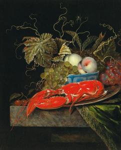 Stilleven met vruchten in een porseleinen schaal en een kreeft op een marmeren blad