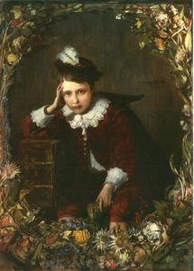 Bloemenkrans rond een cartouche met daarin een portret van een jongen