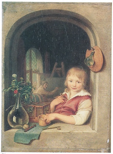 Portret van een onbekende jongen in het venster van een schildersatelier