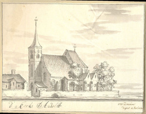 Gezicht op de kerk te Anholt