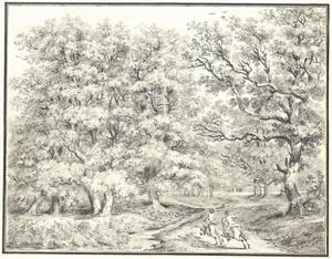 Twee ruiters in een eikenwoud