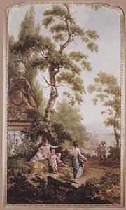Arcadisch landschap met figuren bij een classisitisch monument